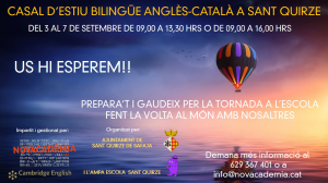 CASAL D'ESTIU BILINGÜE ANGLÈS - CATALÀ A SANT QUIRZE SAFAJA - 2 setmanes al setembre